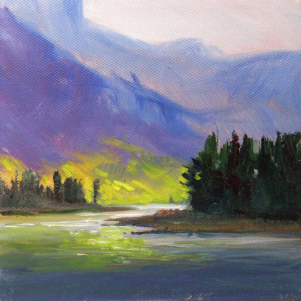 Wall Art - Painting - Cascade Light Landscape by Nancy Merkle