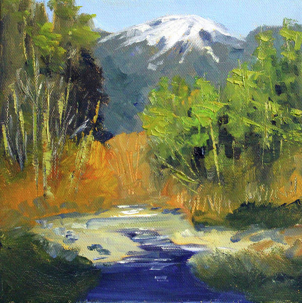 Wall Art - Painting - Cascade Mountain River by Nancy Merkle