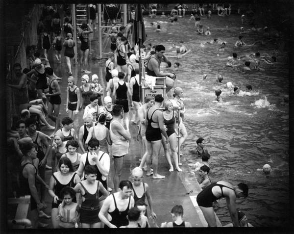 The Bronx Photograph - Cascade Pool Crowds by The New York Historical Society