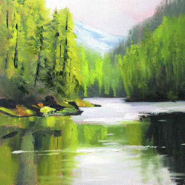 Wall Art - Painting - Cascade River by Nancy Merkle