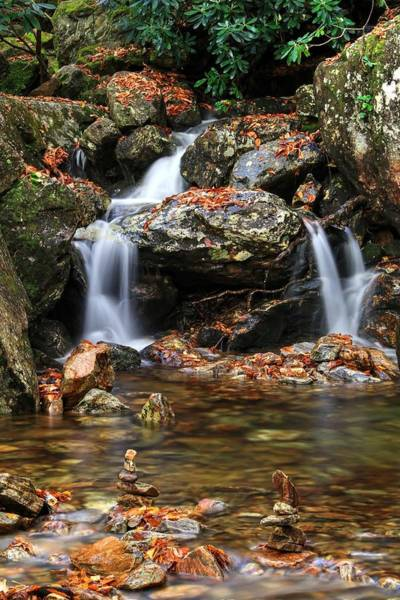 Photograph - Cascades In Fall With Cairn Rocks by Carol Montoya