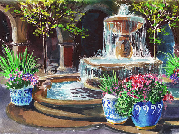 Wall Art - Painting - Cascading Fountain Summer Garden  by Irina Sztukowski