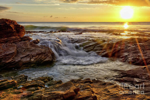 Photograph - Cascading Sunset At Crystal Cove by Eddie Yerkish