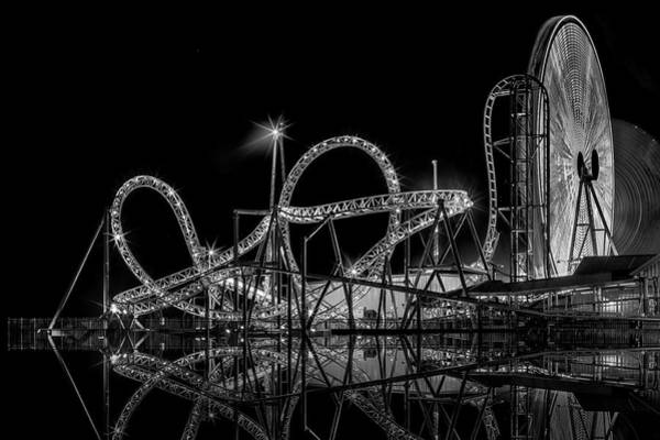 Photograph - Casino Pier And Hydrus Bw by Susan Candelario