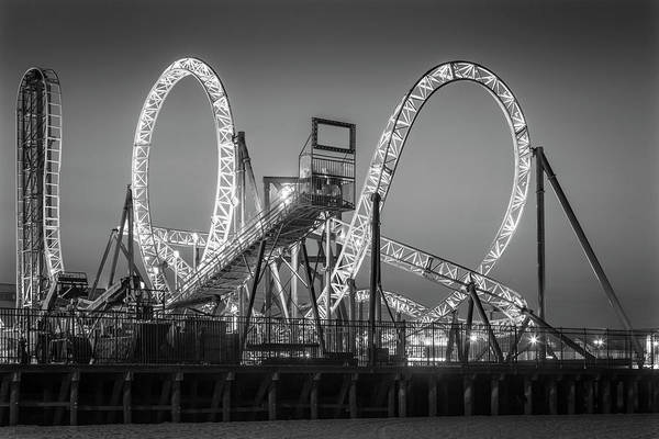 Photograph - Casino Pier And Hydrus Sunset Bw by Susan Candelario