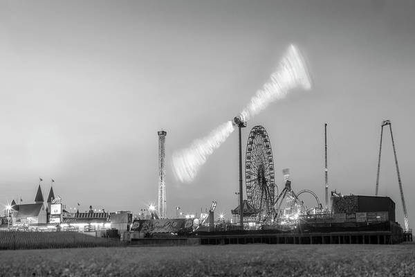 Photograph - Casino Pier Seaside Heights Sunset Bw by Susan Candelario