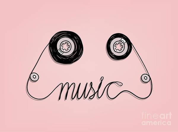 Sounds Wall Art - Digital Art - Cassette Tape Music Graphic by Vazzen