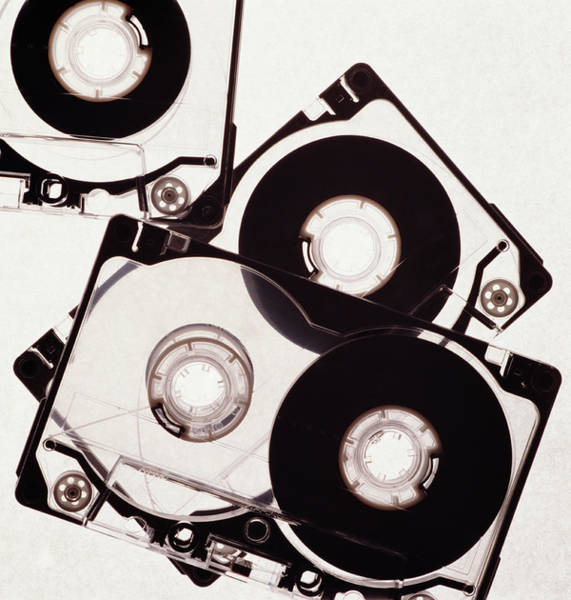 White Background Photograph - Cassette Tapes, Overhead View by Hans Neleman