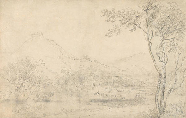 Drawing - Castell Dinas Bran, Wales by Richard Wilson