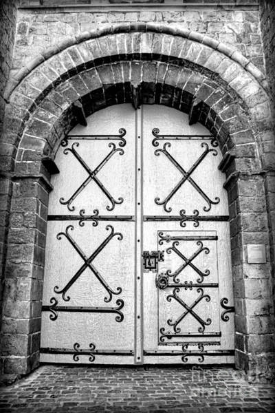 Photograph - Castle Door In Black And White by Carol Groenen