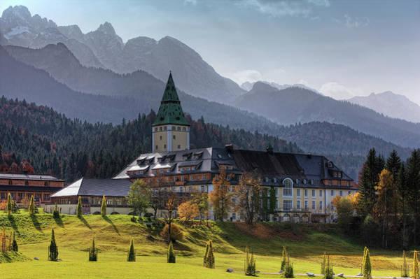 Schloss Wall Art - Photograph - Castle Elmau And Wetterstein Mountains by Wilfried Krecichwost