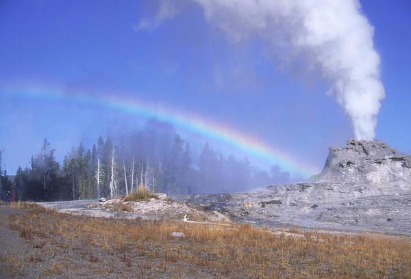 Castle Geyser And Rainbow Art Print by David Hosking