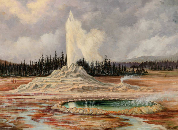 Wall Art - Painting - Castle Geyser And Well, Yellowstone, 1887 by Grafton Tyler Brown