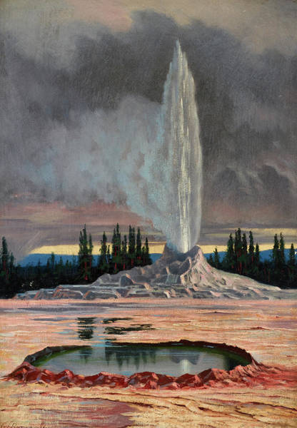Wall Art - Painting - Castle Geyser, Yellowstone Park, 1891 by Grafton Tyler Brown