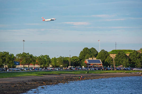 Photograph - Castle Island Beach Pleasure Bay Boston Ma Plane Landing by Toby McGuire