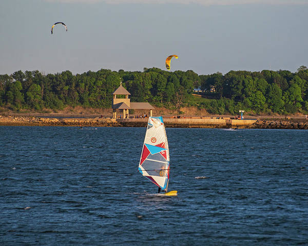 Photograph - Castle Island Windsurfer Pleasure Bay Boston Ma by Toby McGuire