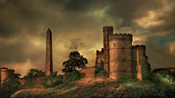 Outdoors Digital Art - Castle Overlooking Rural Landscape by Chris Clor
