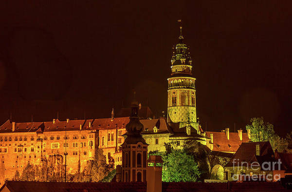 Photograph - Castle Tower In Cesky Krumlov At Night by Les Palenik