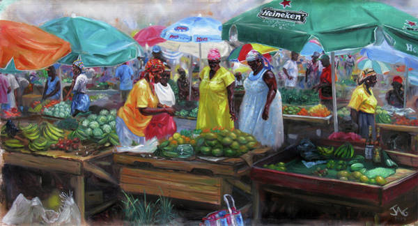 Saint Lucia Painting - Castries Market by Jonathan Guy-Gladding JAG