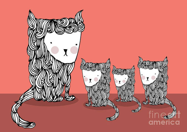 Wall Art - Digital Art - Cat And Kittens Illustrationvector by Lyeyee