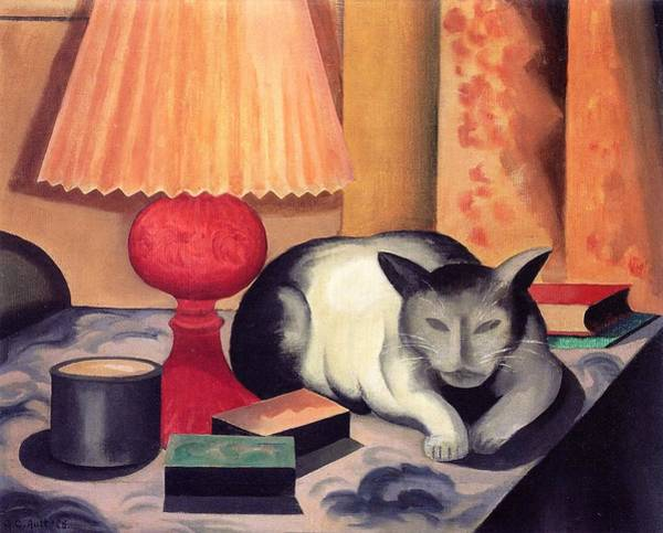 Wall Art - Painting - Cat And Lamp by George Copeland Ault