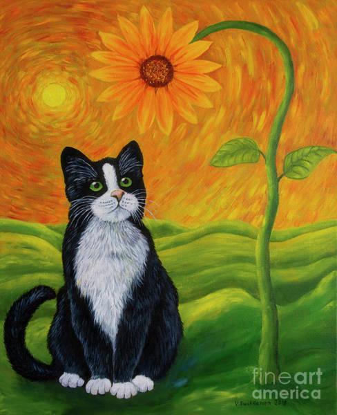Salo Wall Art - Painting - Cat And Sunflower by Veikko Suikkanen