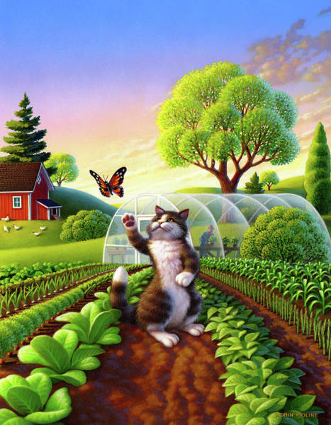 Wall Art - Painting - Cat And The Butterfly by Robin Moline