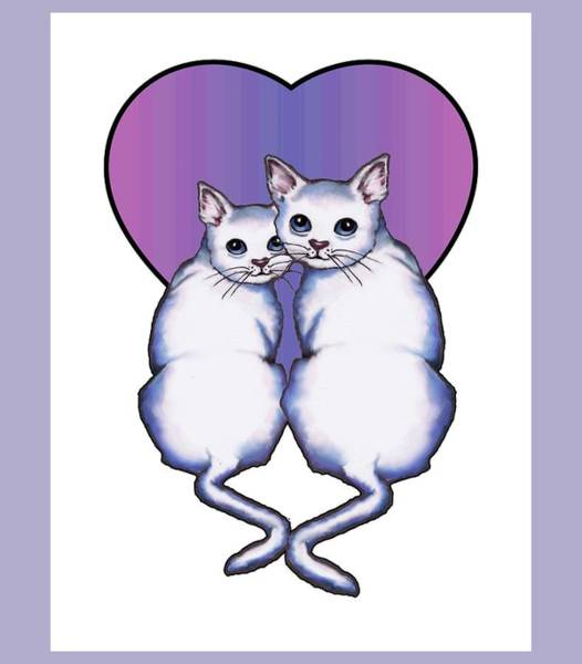 Wall Art - Drawing - Cat Couple With Heart by Joyce Geleynse