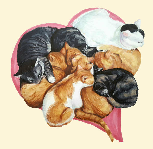 Snuggle Painting - Cat Cuddle Puddle Of Love by Nicole Mastroserio