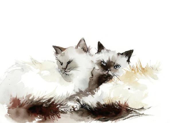 Wall Art - Painting - Cat Cuddles by Sophia Rodionov