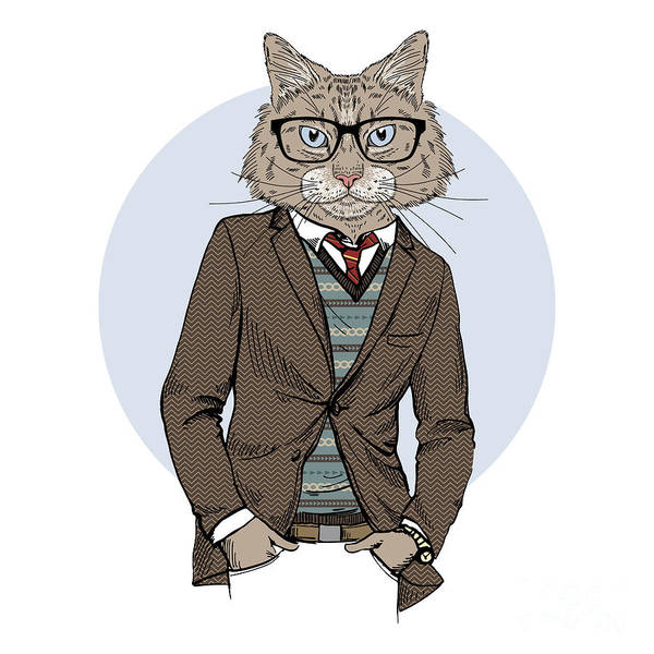 Wall Art - Digital Art - Cat Dressed Up In Tweed Jacket, Furry by Olga angelloz