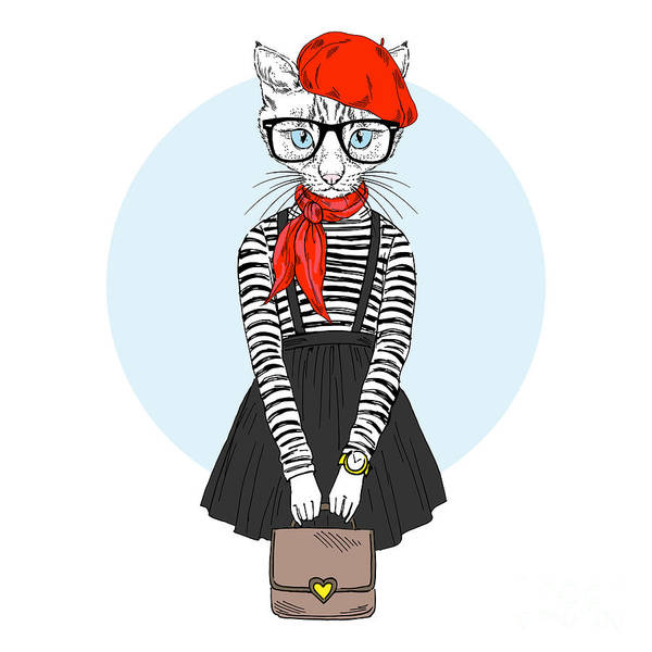 Wall Art - Digital Art - Cat Girl Dressed Up In French Chic by Olga angelloz
