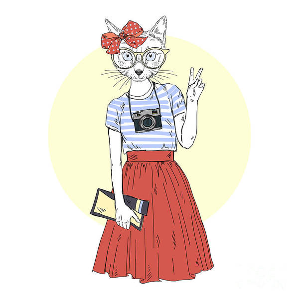 Camera Digital Art - Cat Girl Hipster With Photo Camera by Olga angelloz
