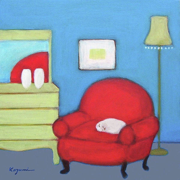 Painting - Cat In Red Chair by Kazumi Whitemoon
