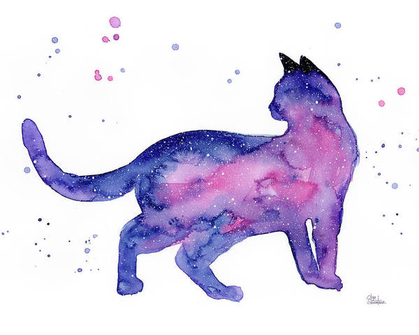 Constellation Wall Art - Painting - Cat In Space by Olga Shvartsur