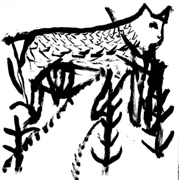Wall Art - Drawing - Cat In The Woods by Artist Dot
