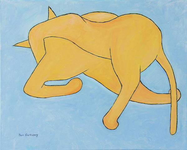 Painting - Cat In Yellow On Blue by Ben Gertsberg