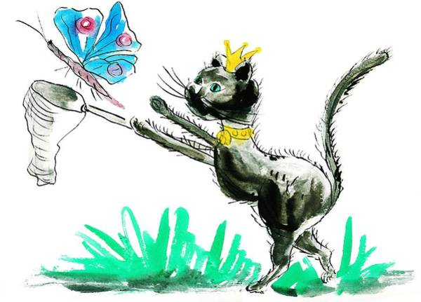 Wall Art - Painting - Cat King by ArtMarketJapan