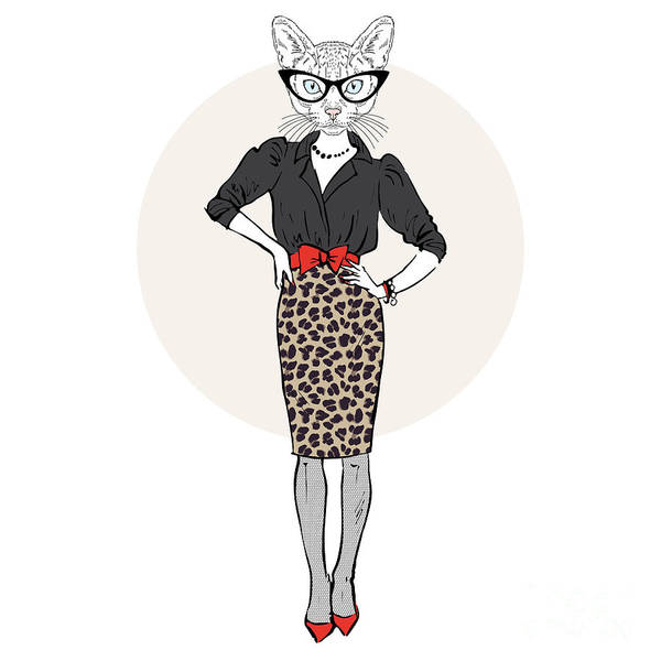 Wall Art - Digital Art - Cat Lady Woman In Leopard Skirt, Furry by Olga angelloz