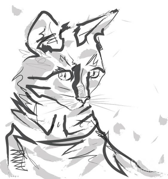 Painting - Cat Lisa In Lines by Go Van Kampen