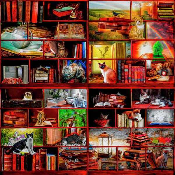 Digital Art - Cat Lovers Library by Debra and Dave Vanderlaan