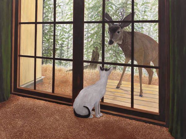 Painting - Cat Meets Deer by Karen Zuk Rosenblatt