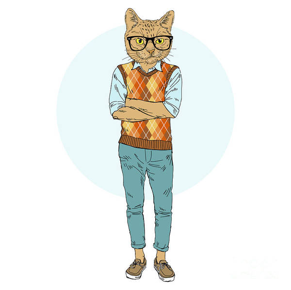 Wall Art - Digital Art - Cat Nerdy Hipster, Furry Art by Olga angelloz
