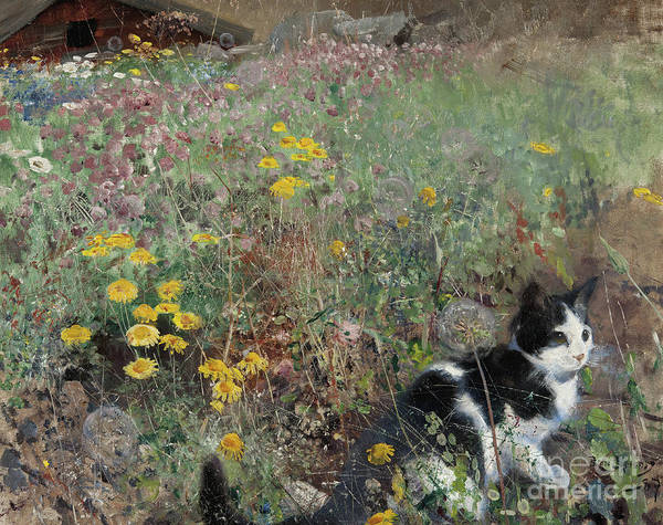 Wall Art - Painting - Cat On A Flowery Meadow, 1887 by Bruno Andreas Liljefors