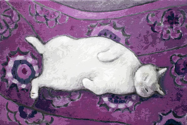 Painting - Cat On Purple Chair by Kazumi Whitemoon