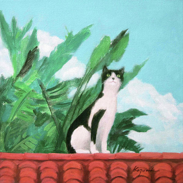 Painting - Cat On The Roof by Kazumi Whitemoon