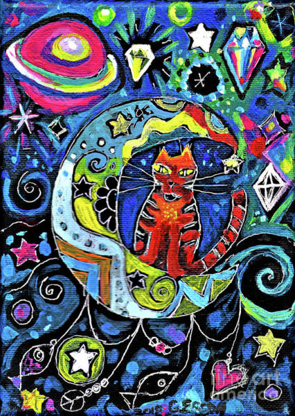 Cats And Dogs Painting - Cat On A Crescent Moon With Diamonds by Genevieve Esson