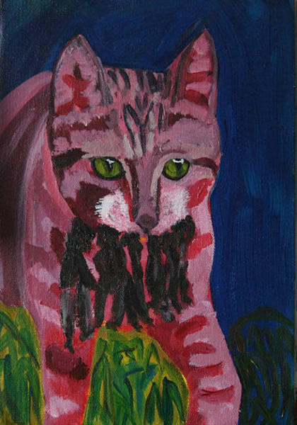 Mixed Media - Cat Pink Hunting by Siobhan Dempsey
