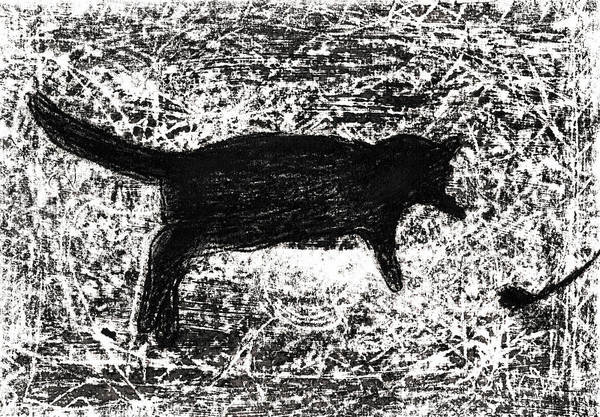 Drawing - Cat Playing by Artist Dot