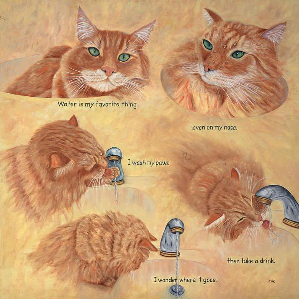 Painting - Cat Splash by Karen Zuk Rosenblatt